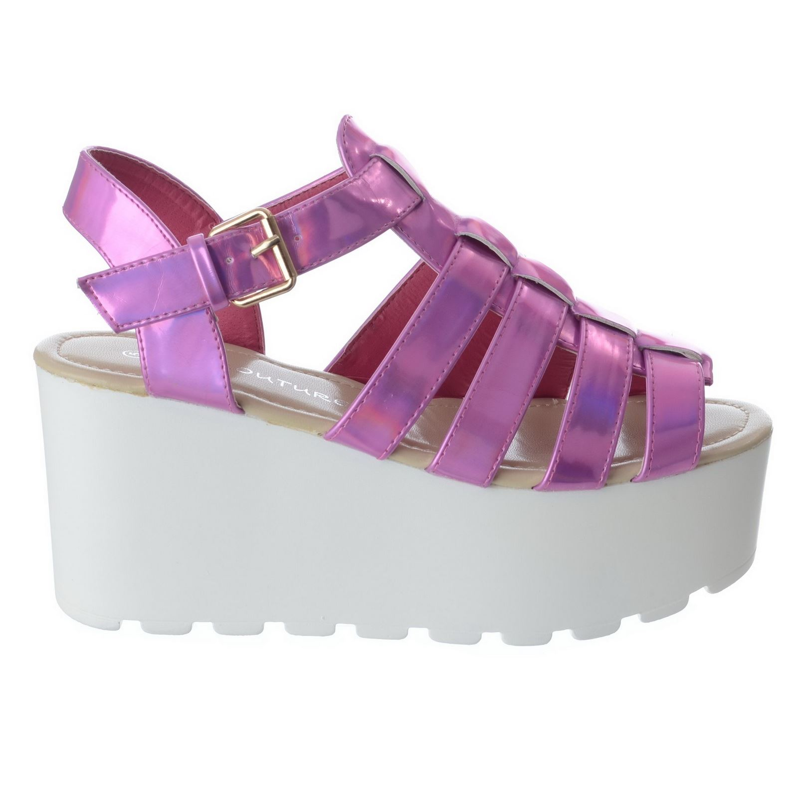 Womens sandals size 13 - Womens Ladies Chunky Sole Gladiator Summer Wedges Platform