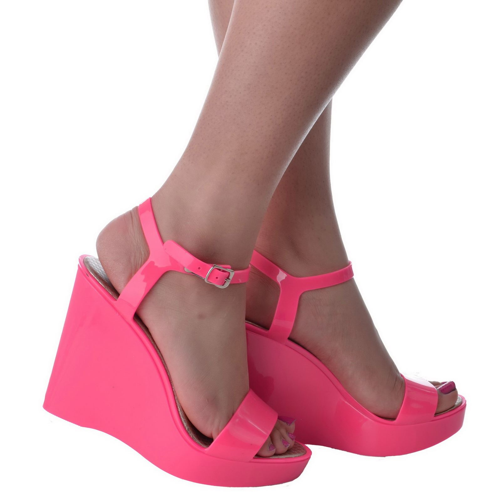 womens high heel wedges ankle open toe jelly