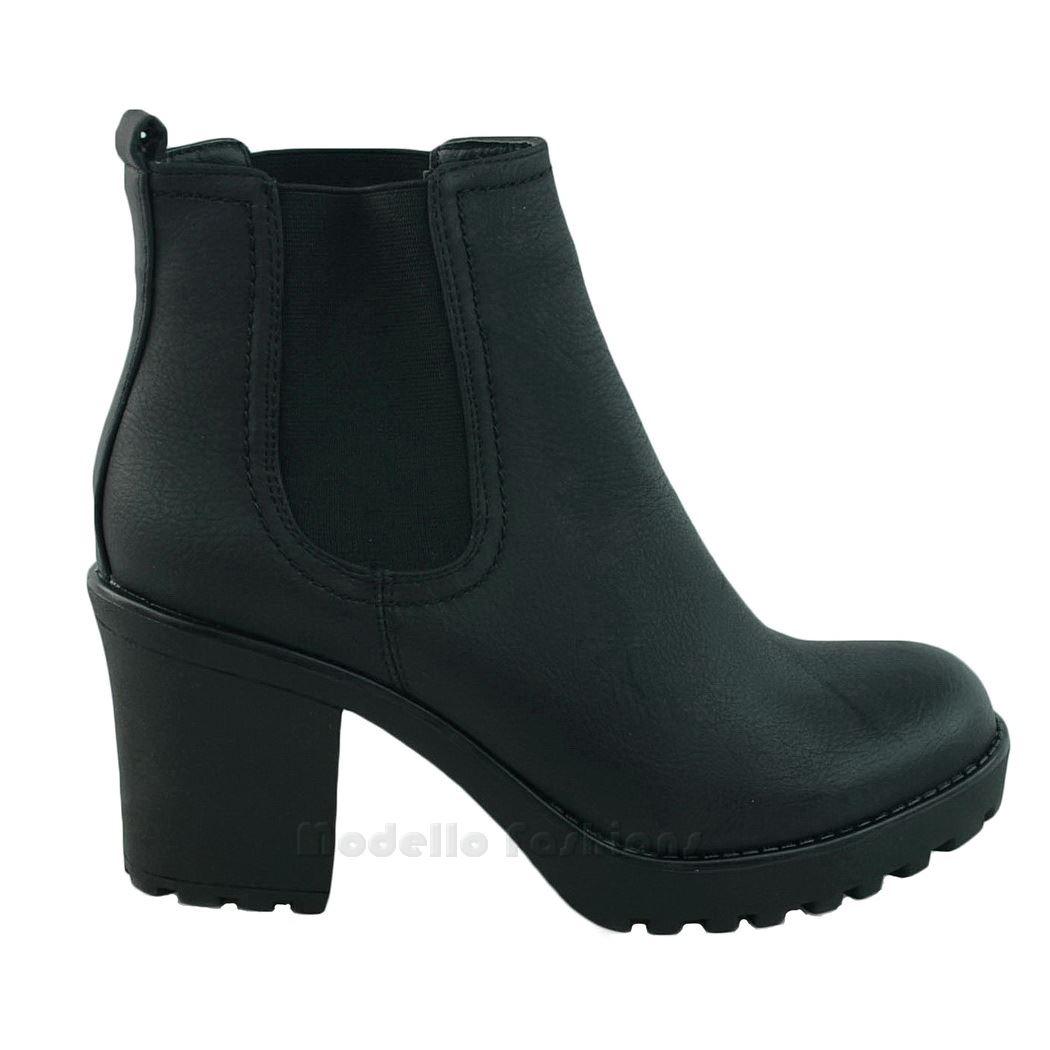 new womens chunky block heel grip sole chelsea