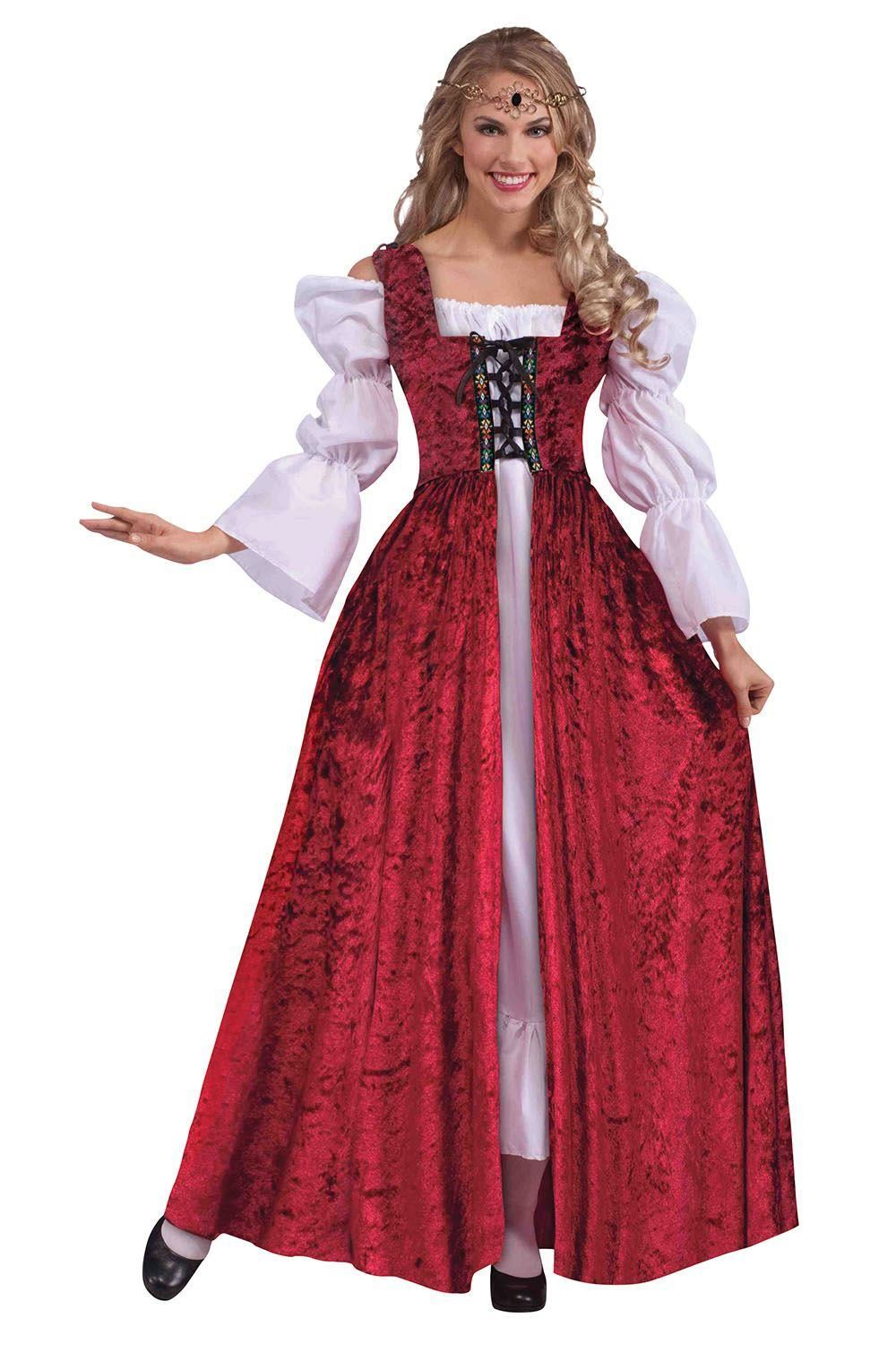 RED-PURPLE-WHITE-MEDIEVAL-RENAISSANCE-GOWN-DRESS-FANCY-DRESS-COSTUME-MAID-MARIAN
