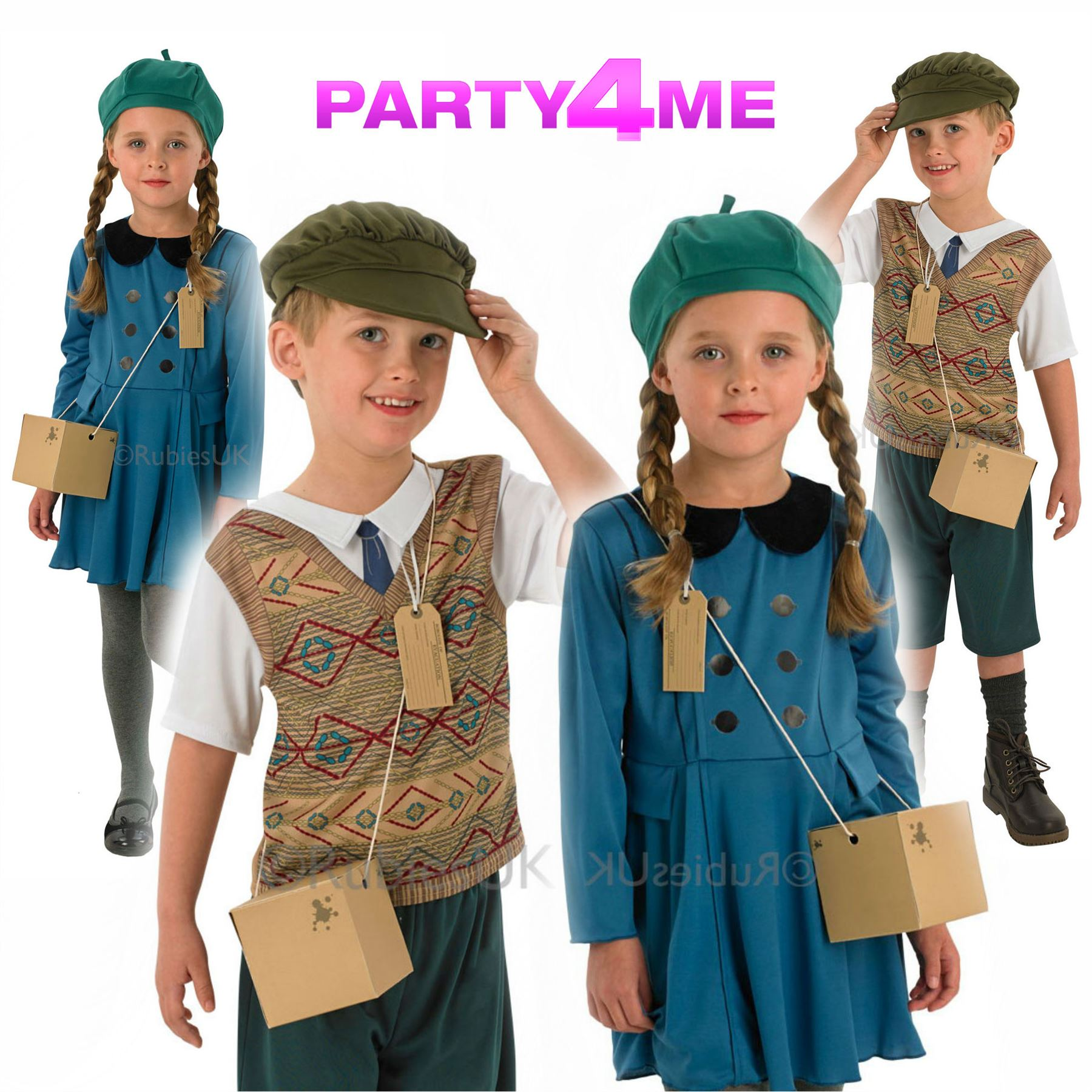 Girls boys world war evacuee fancy dress costume ww2 wartime outfit