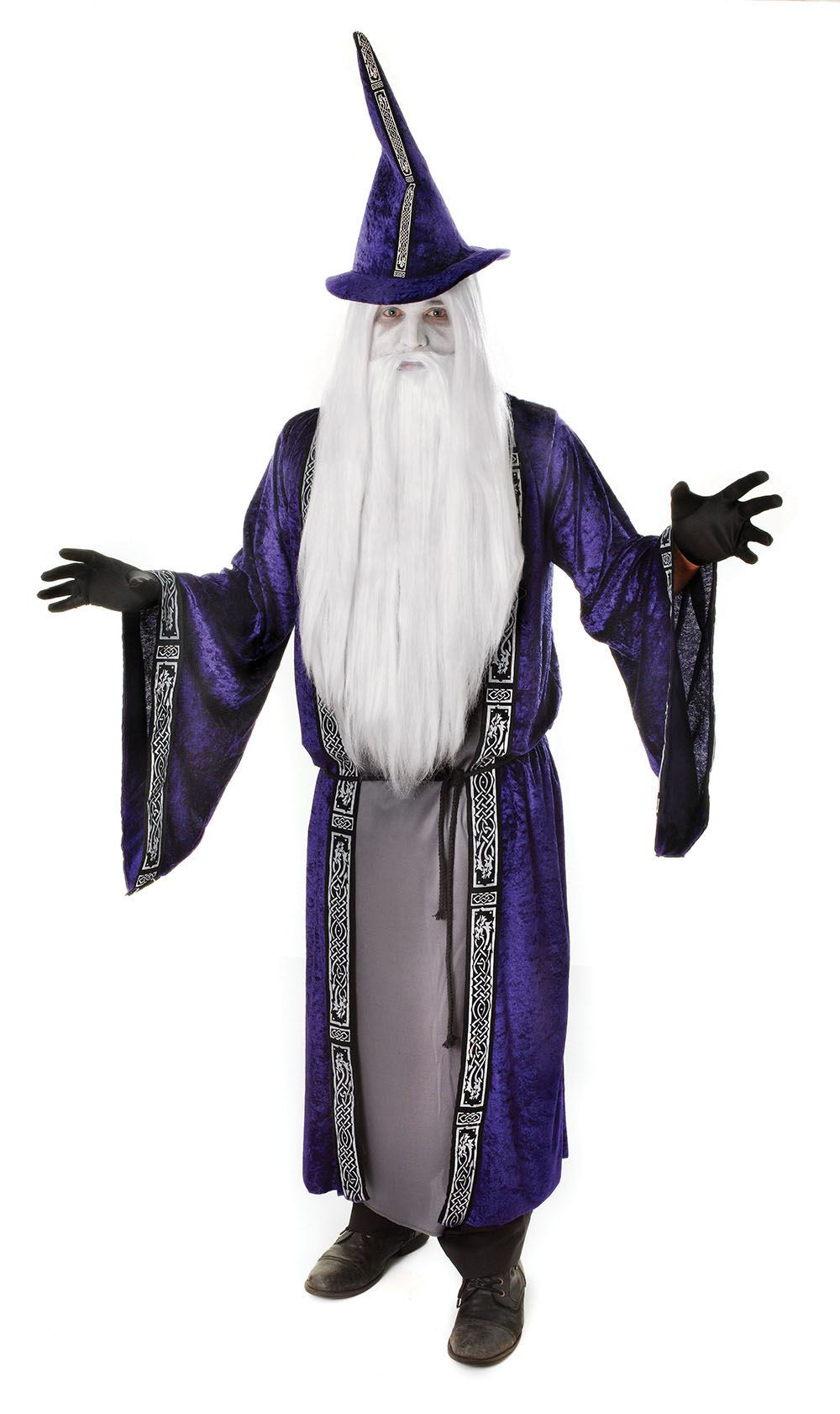 ADULT MENS PURPLE MAGIC WIZARD DUMBLEDORE MERLIN FANCY DRESS ...