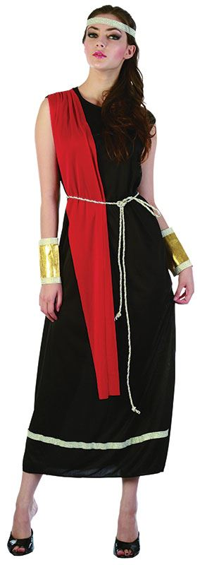 Mens-Ladies-Adult-Greek-Grecian-Caesar-Roman-God-Toga-Black-Fancy-Dress-Costume
