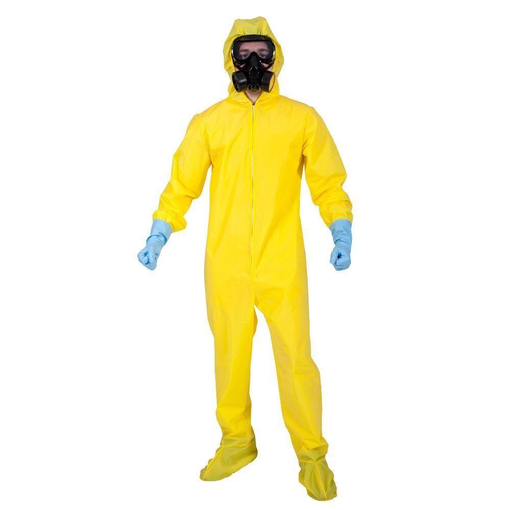 Adult Bad Chemist Costume Walter White Hazmat Yellow Chemical Suit ...