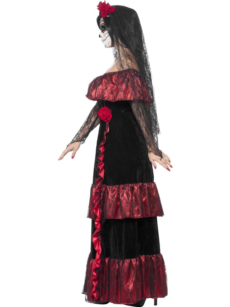 Adult Mexican Day Of The Dead Zombie Bride Ladies Halloween Fancy ...