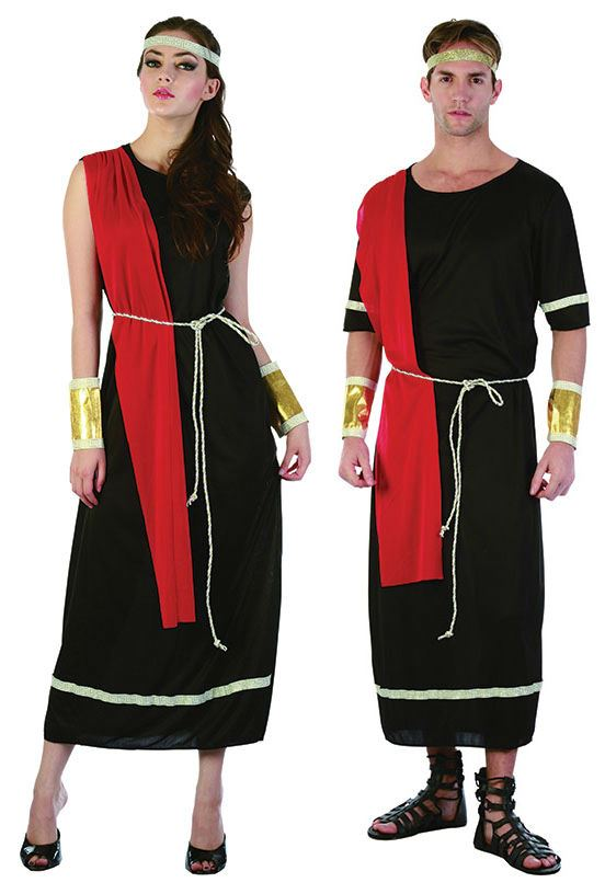 Mens-Ladies-Greek-Grecian-Caesar-Roman-God-Toga-Black-Fancy-Dress-Costume-Outfit