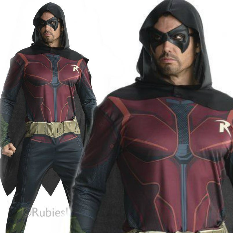 Adults Men Arkham City Robin Superhero Batman Fancy Dress ...