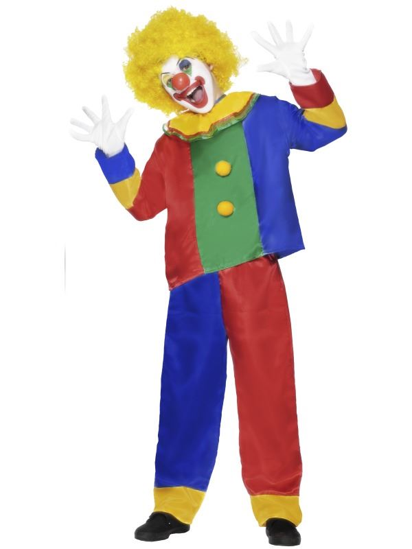 Childrens-Boys-Kids-Clown-Jester-Comic-Circus-Fancy-Dress-Costume