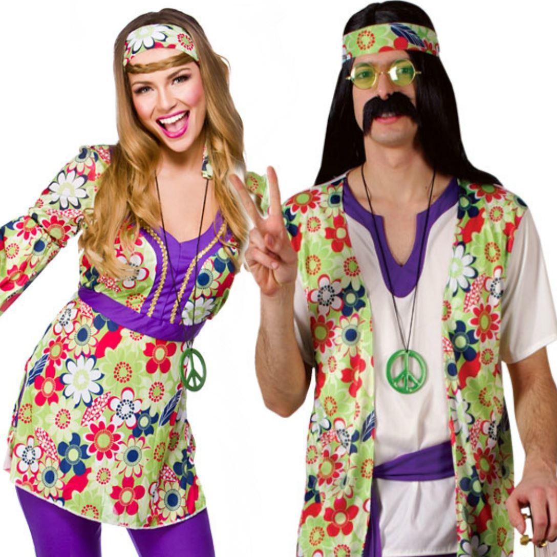 adult mens ladies couple 60s 70s groovy hippy flower power