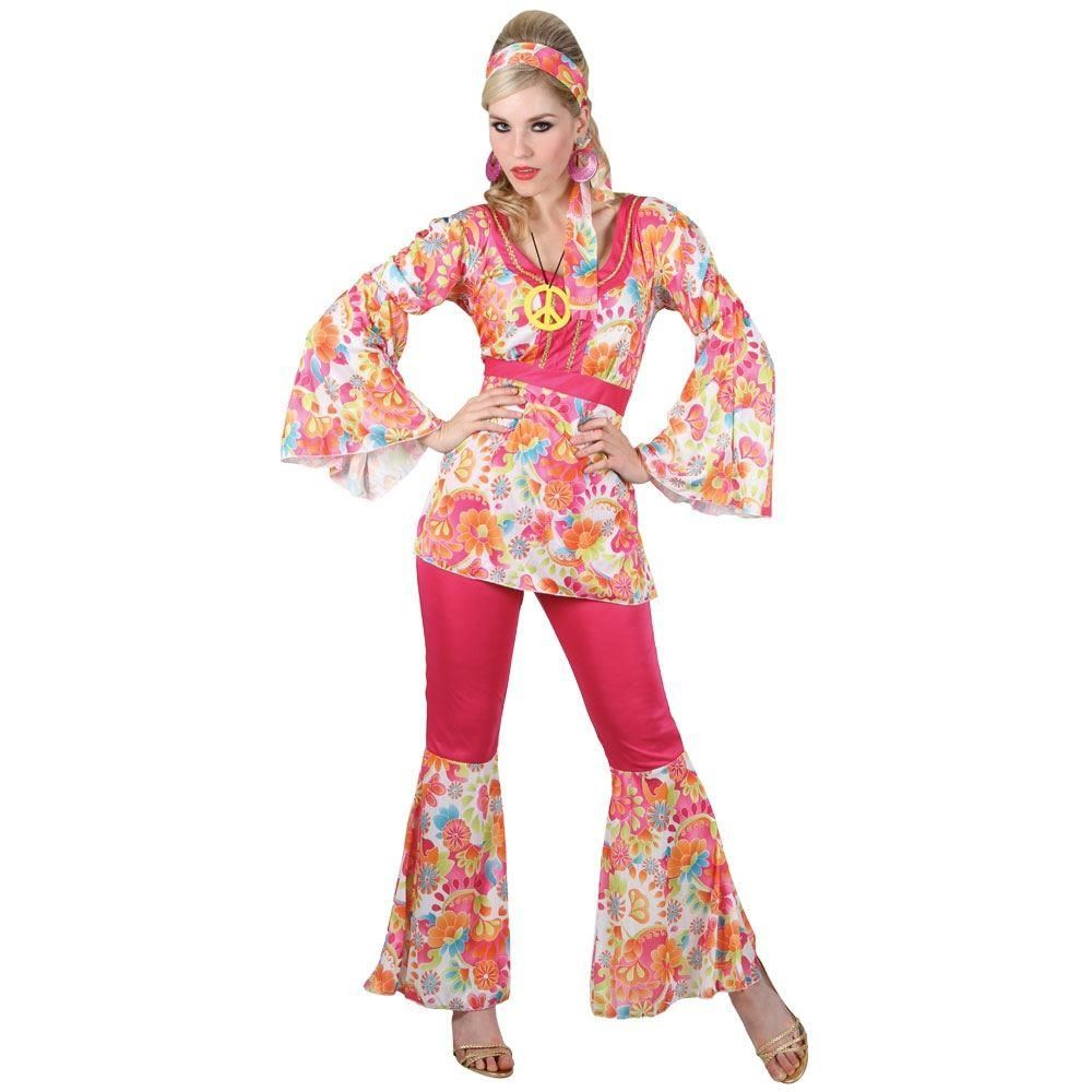 Adult 60s 70s Groovy Lady Hippy Flower Power Womens Ladies Fancy Dress Costume Ebay