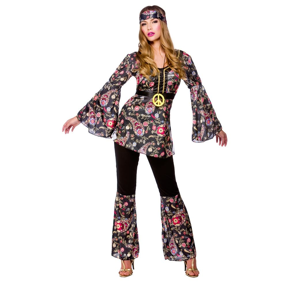 adult 60s 70s groovy lady hippy flower power womens ladies. Black Bedroom Furniture Sets. Home Design Ideas