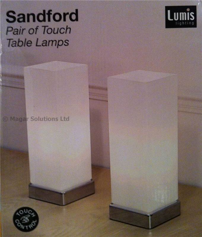 lumis lighting sandford pair of touch table lamps chrome glass bedroom
