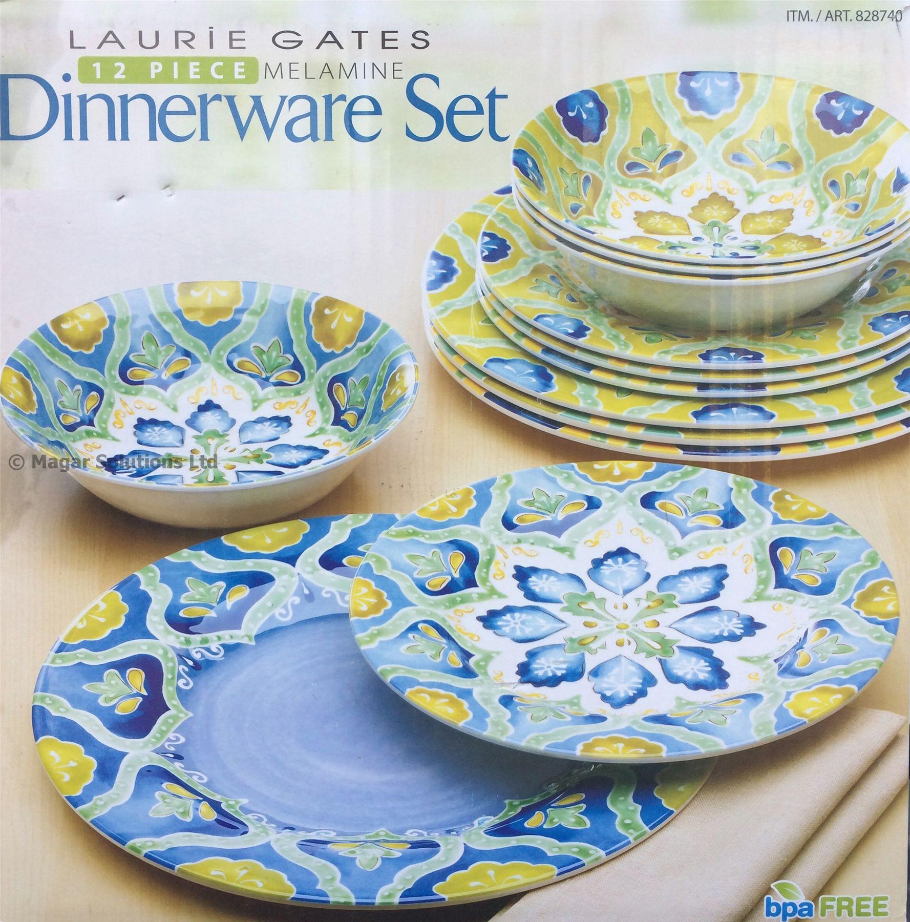 piece floral melamine dinnerware dinner set caravan bbq garden ebay
