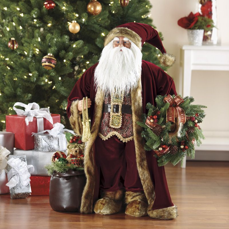"""Traditional Red Santa Claus Large Fabric 36"""" Christmas"""