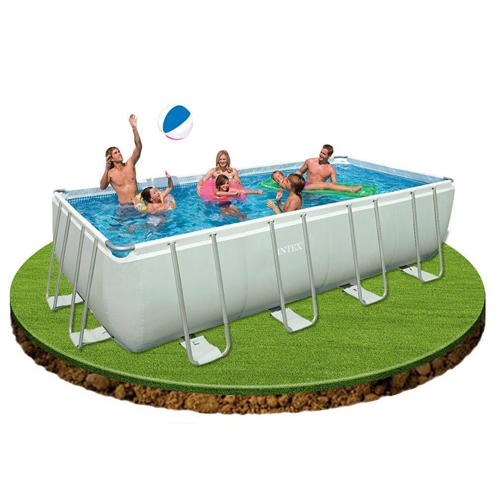 Intex 28352 52 18x9ft rectangular ultra frame garden for Garden swimming pool ebay