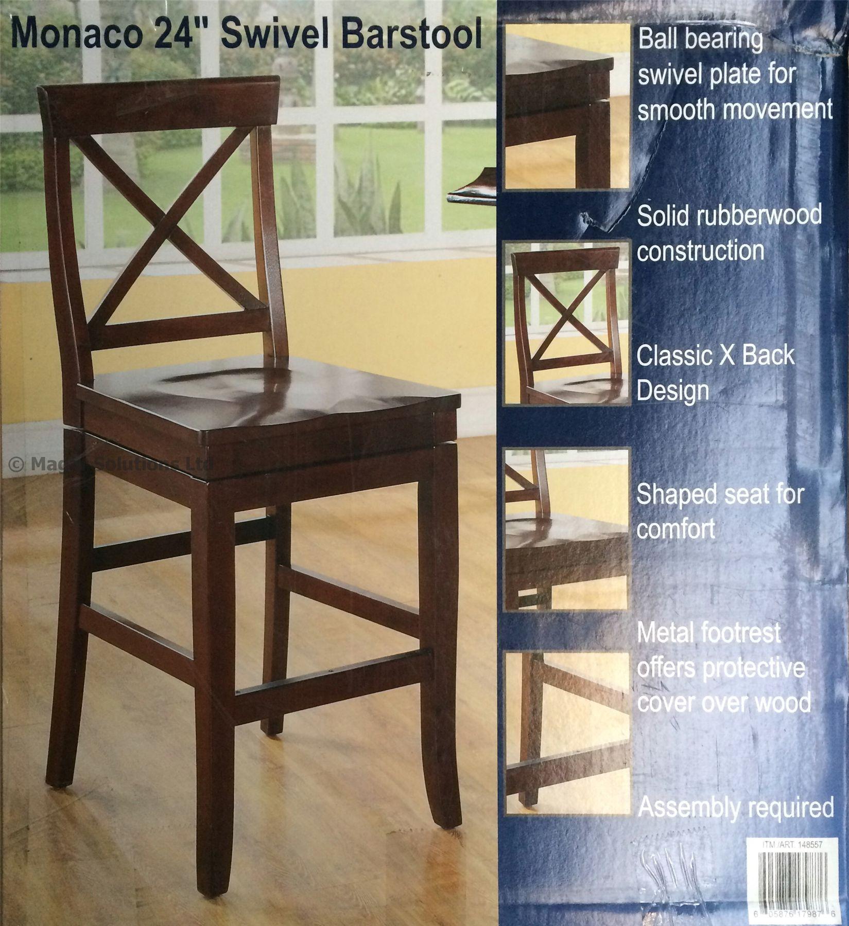 "Wooden Revolving Stool Light Brown Swivel Bar Pub Chair: Monaco 24"" Wooden Dark Brown Swivel Bar Stool Solid Rubber"