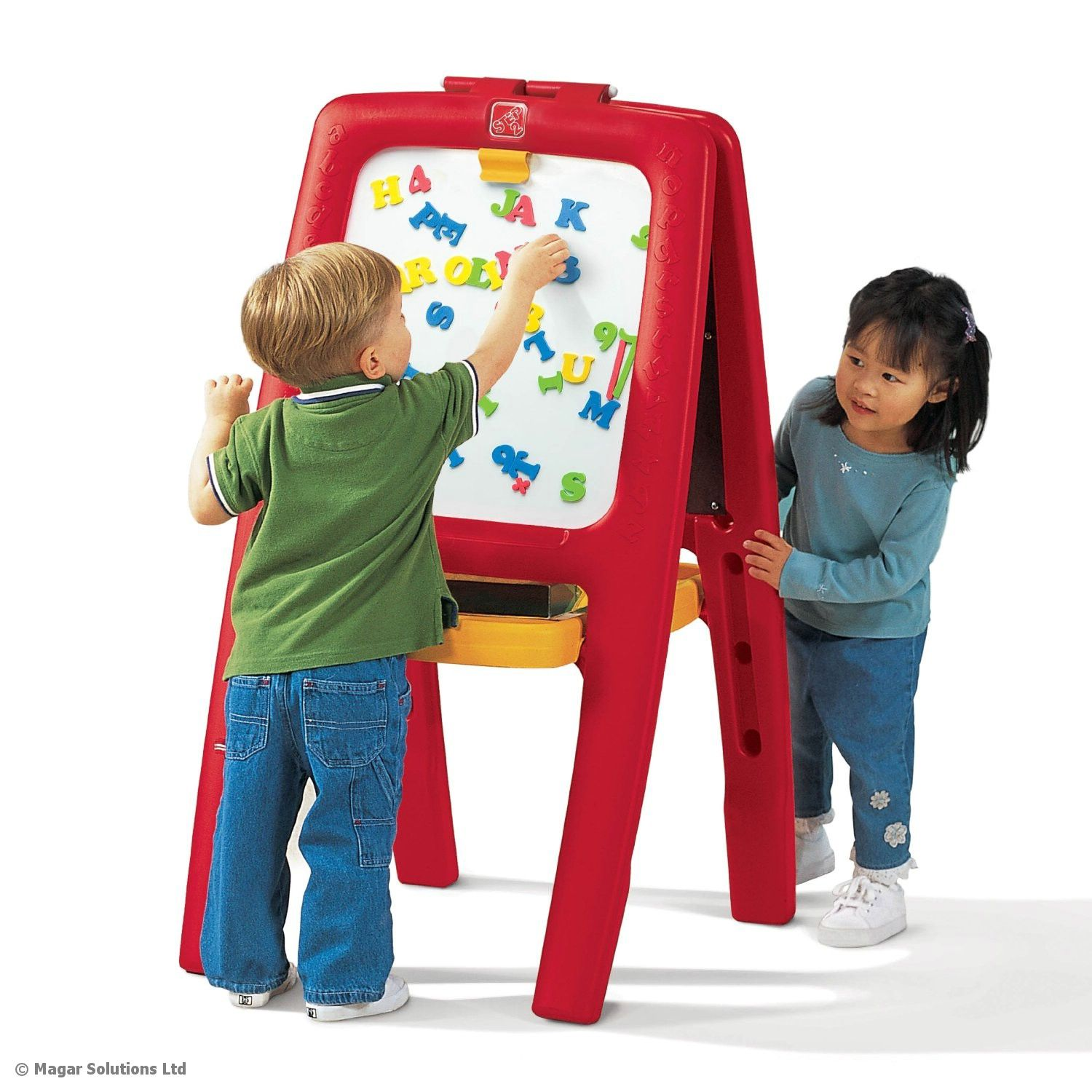 Art Toys For Boys : Step easel for two childrens kids art crafts white black