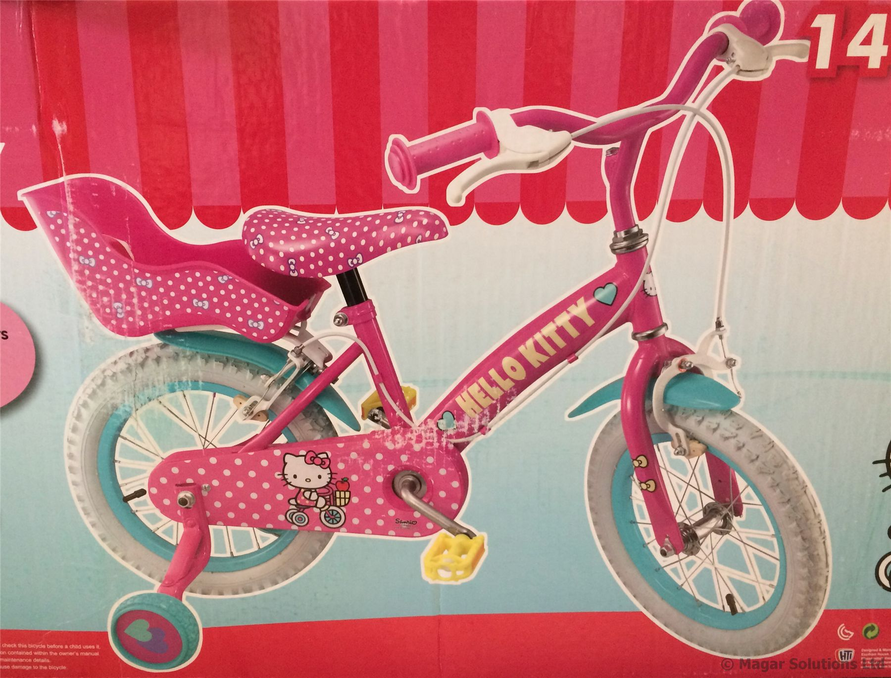 Hello-Kitty-14-Girls-Bike-Pink-Bicycle-Dolls-Seat-Stabilisers-Age-4