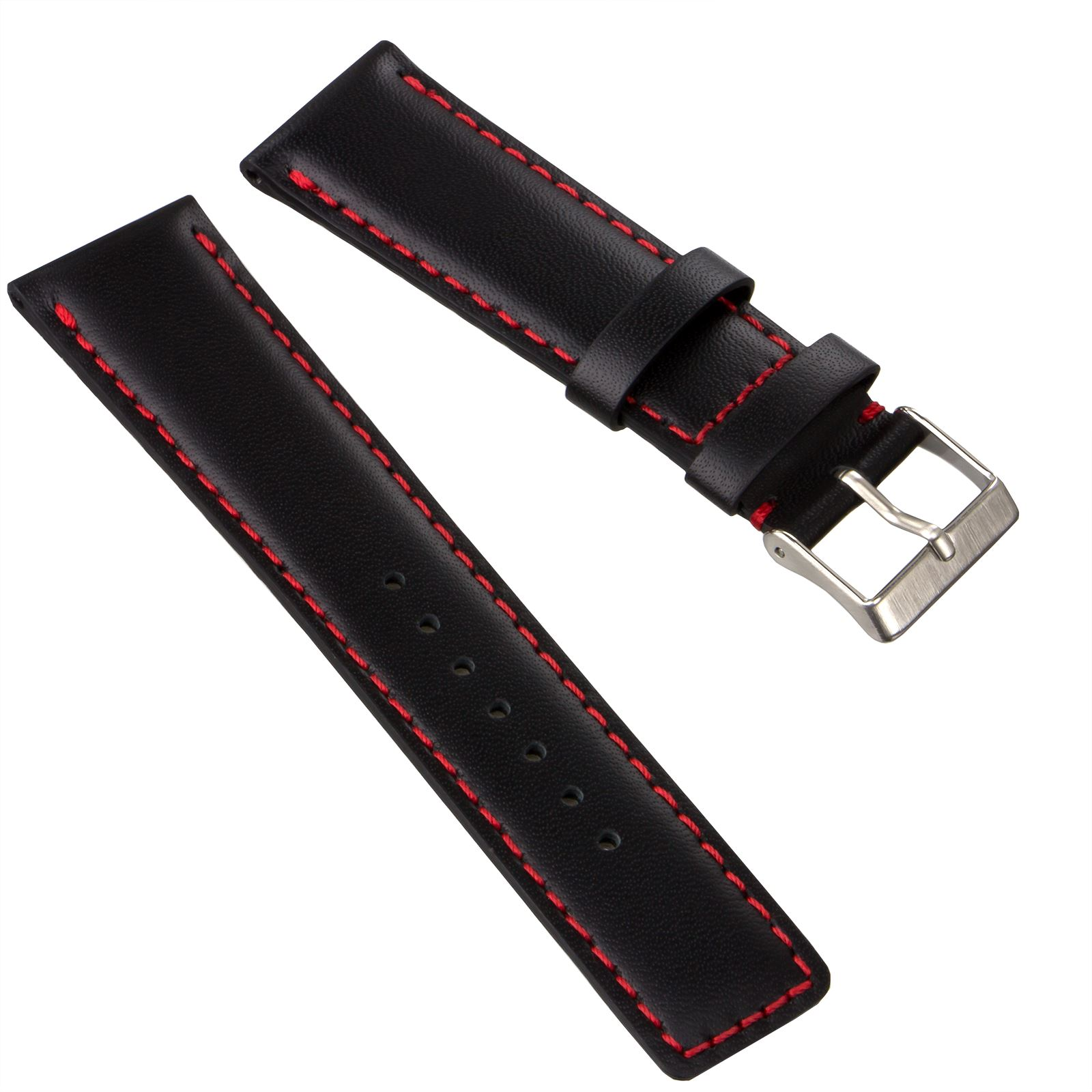 3b8a82b0a Genuine Leather Watch Strap Padded Pilot Square Tip Black Blue Brown ...