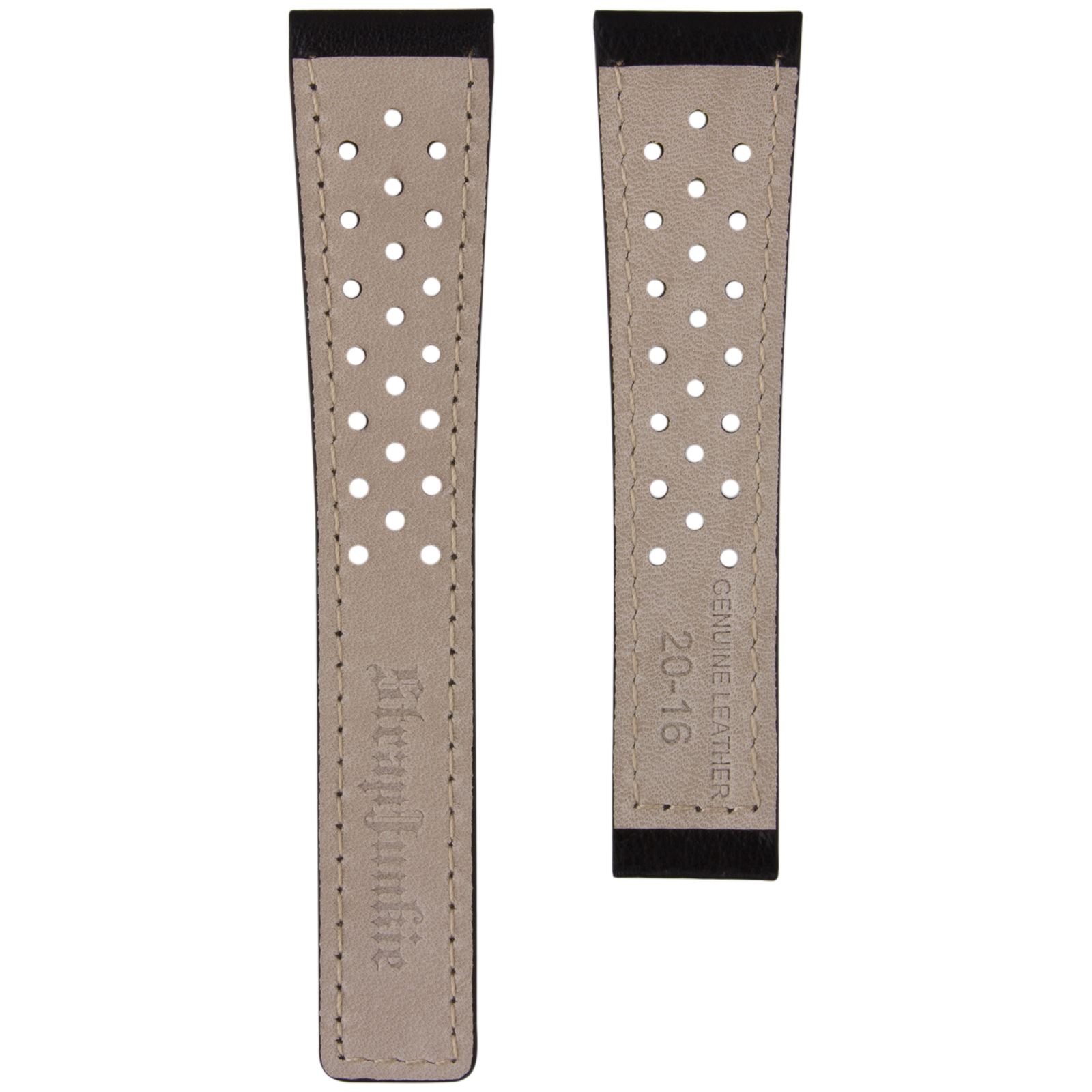 Genuine Leather Perforated Sports Style Watch Strap for TAG Heuer Deployment