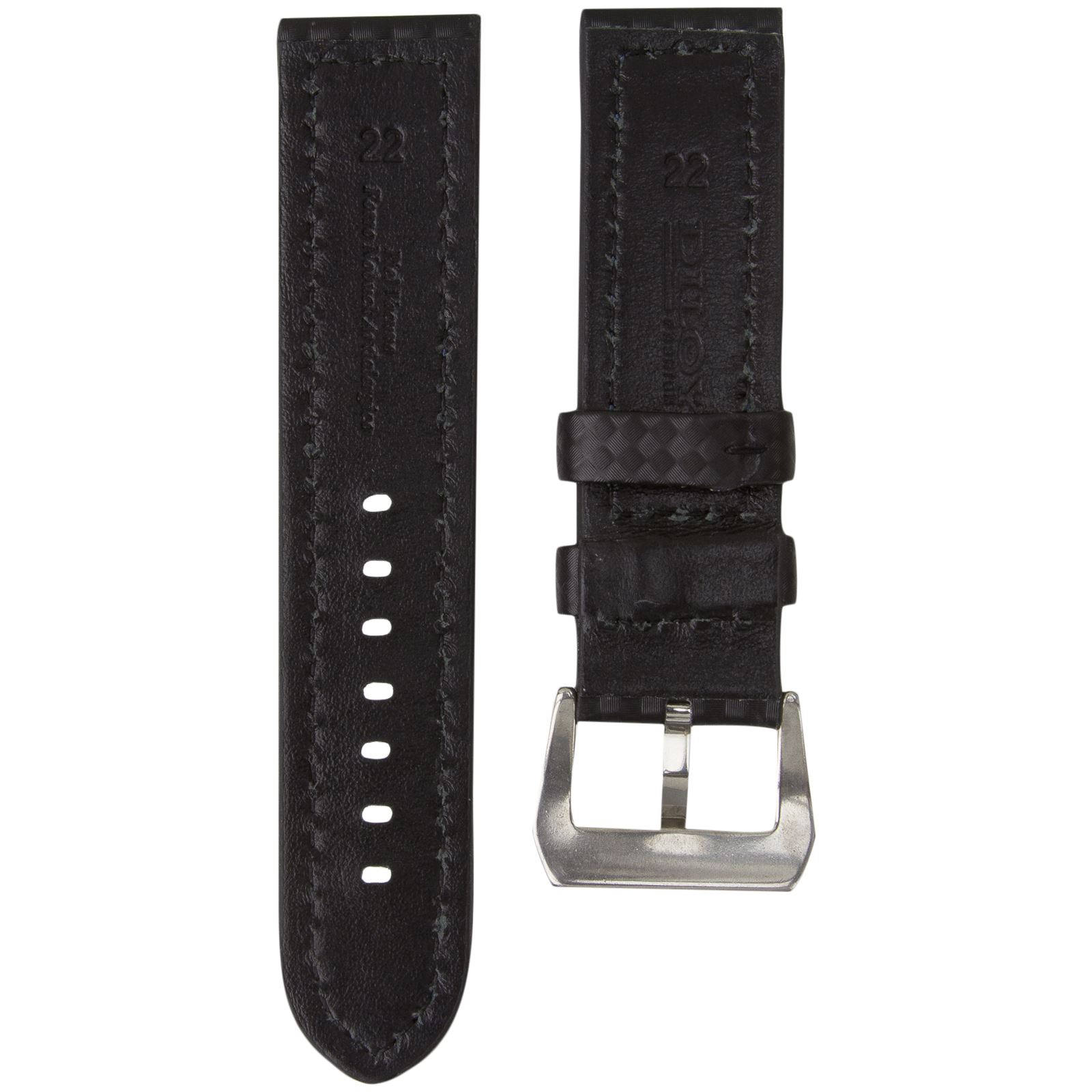 Diloy Genuine Leather Watch Strap Carbon Fibre 22 24mm
