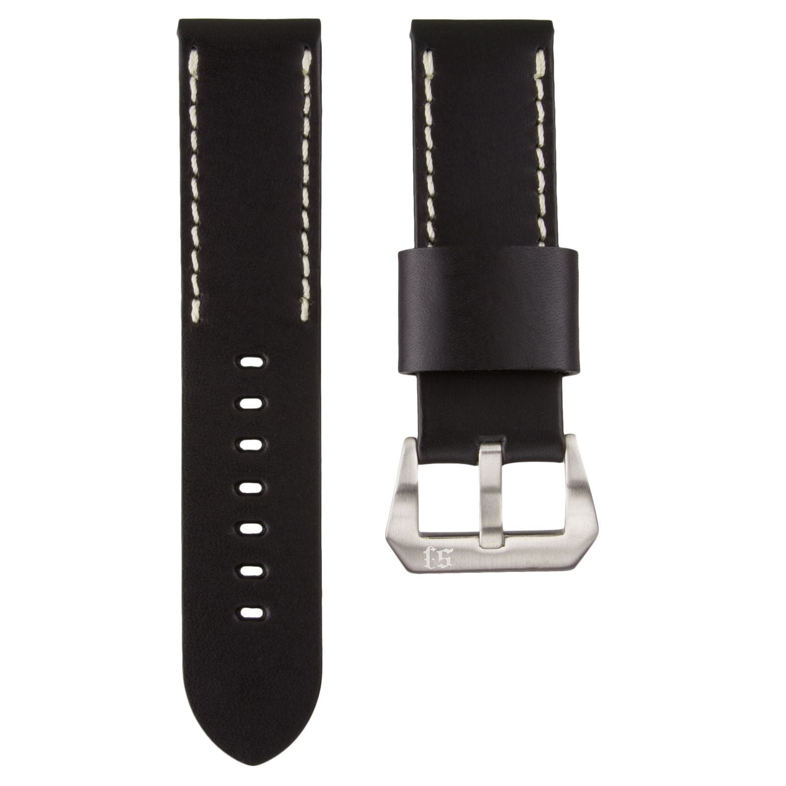 Thick Quality Genuine Leather Watch Strap for Panerai Ivory Half Stitching 24mm