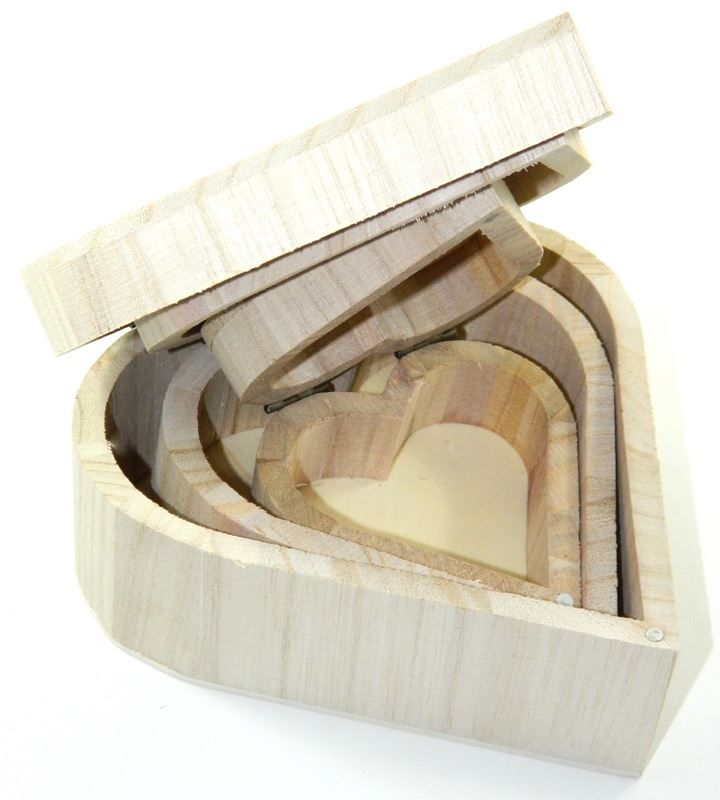 Design your own set x3 wood box heart diy unfinished for Unfinished wooden boxes for crafts