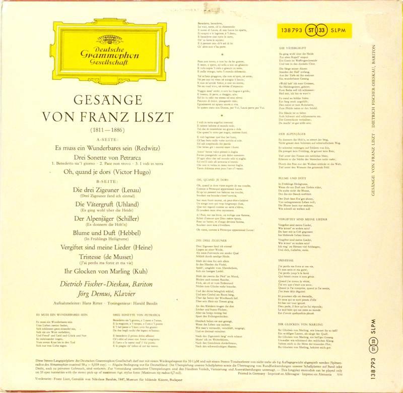 Gesange Von Franz Liszt By Dietrich Fischer Dieskau Jorg
