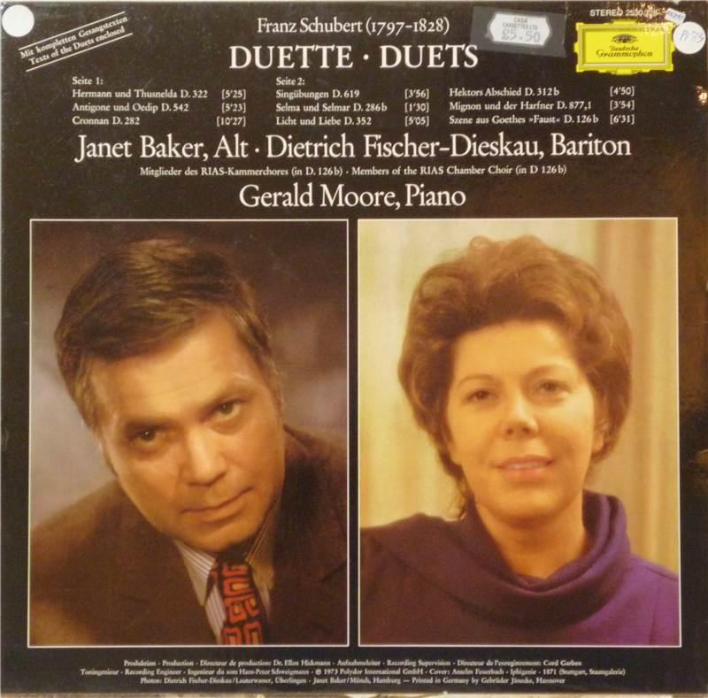 Franz Schubert Duets By Janet Baker Dietrich Fischer
