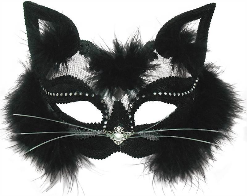 TRANSPARENT BLACK CAT MASK, MASQUERADE EYE MASK, HALLOWEEN FANCY DRESS #US