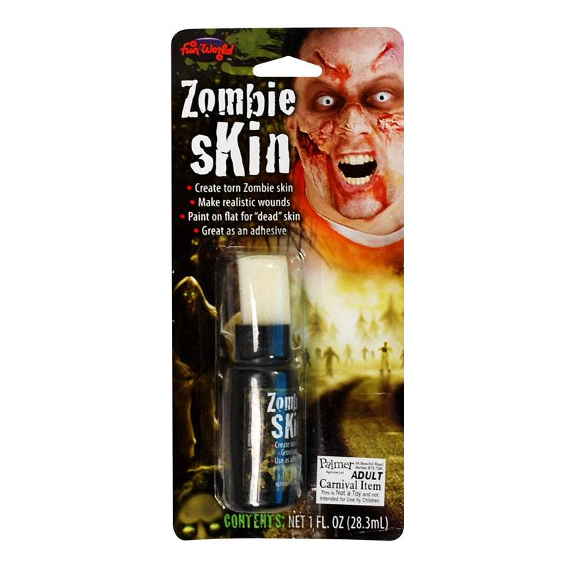 Zombie fake skin liquid latex face paint make up - Zombie scars with glue ...
