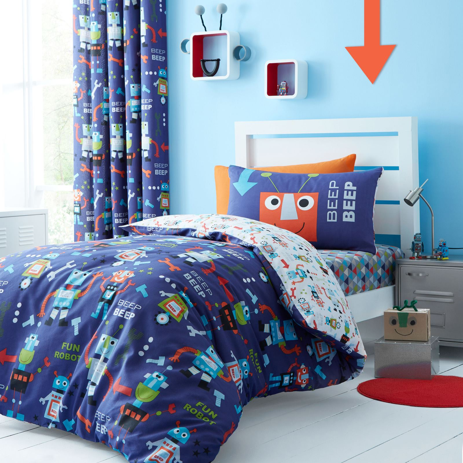 catherine lansfield robots blue kids childrens duvet quilt cover  - catherinelansfieldrobotsbluekidschildrensduvetquilt