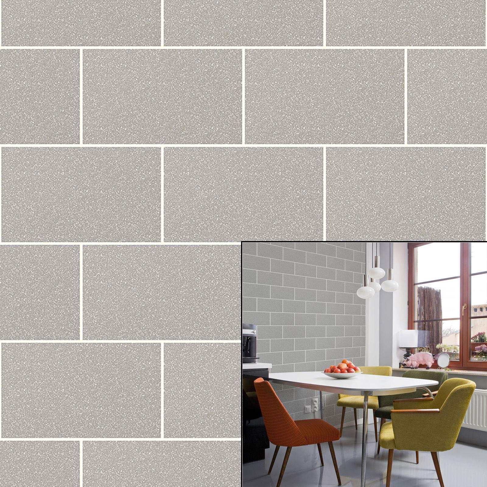 Crown london tile grey mist urban brick effect glitter for Tile effect kitchen wallpaper