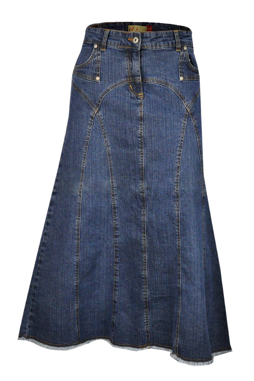 new clove arch panel blue denim maxi a line skirt