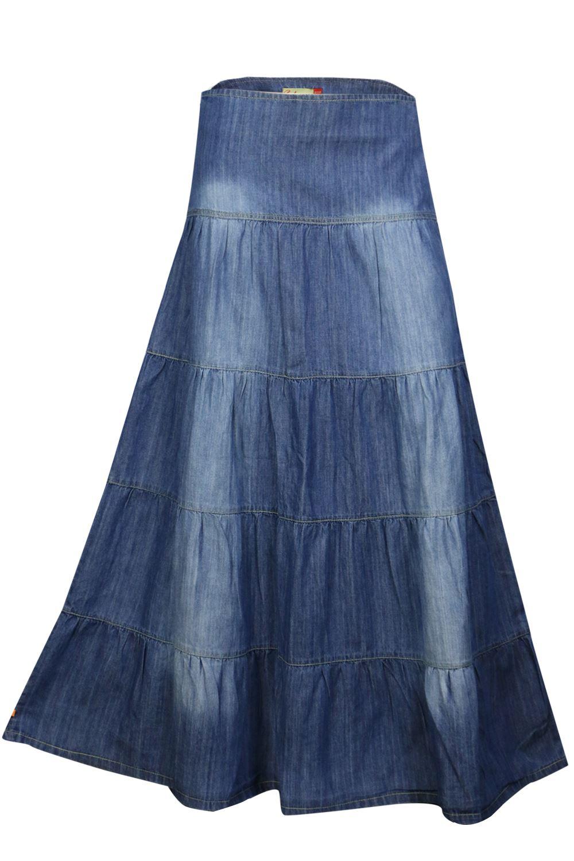five tier feminine blue denim and skirt
