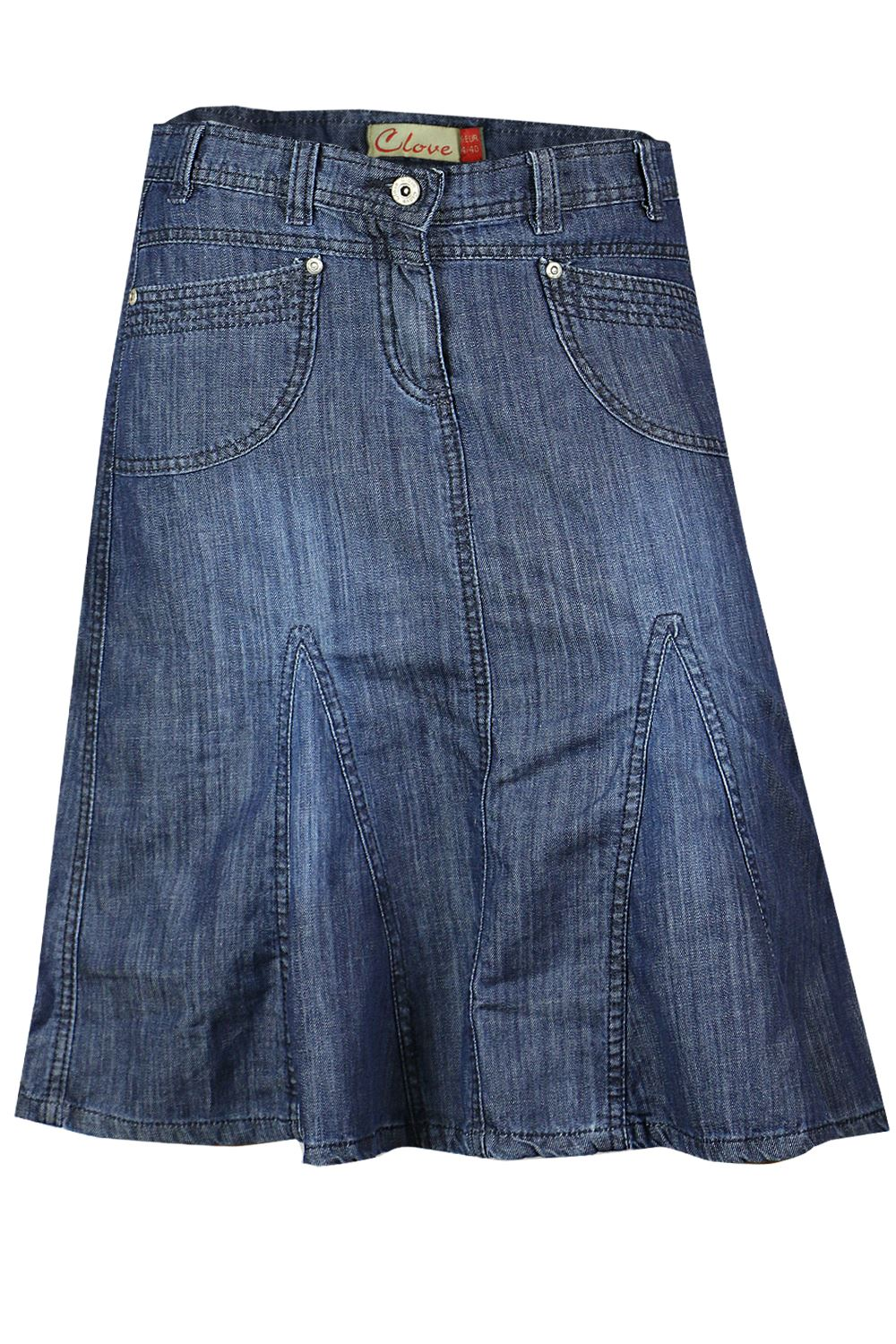 knee length a line soft wash light denim skirt plus size