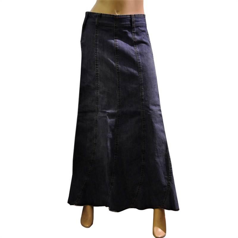 clove line patched blue denim skirt plus size