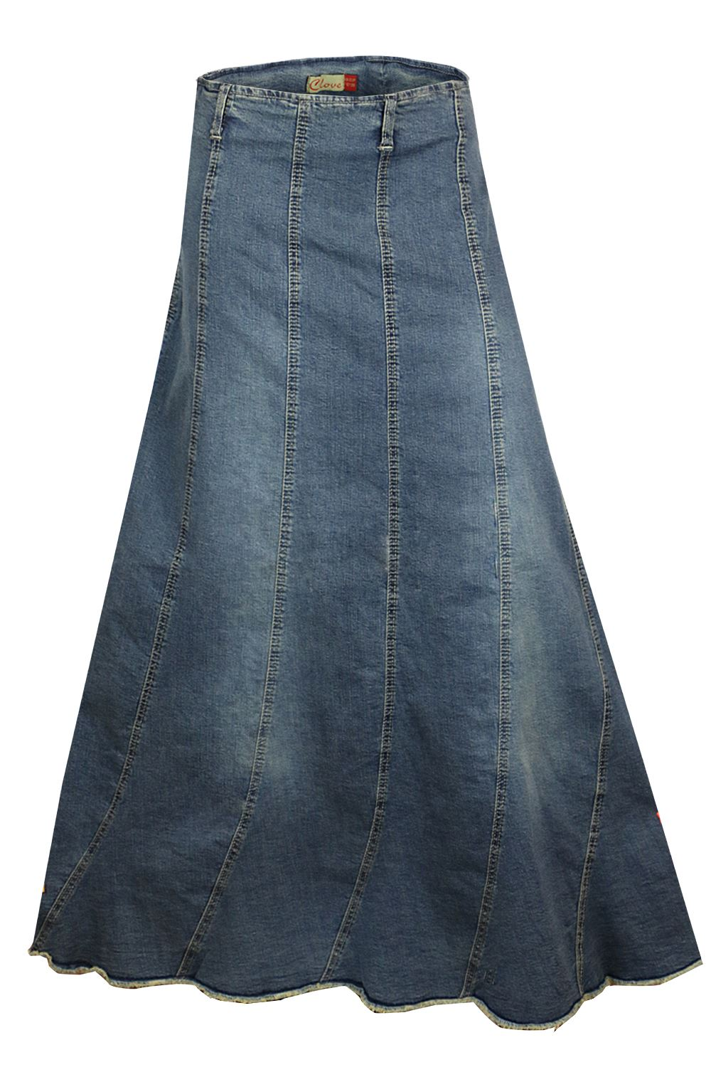 a line vertical panelling blue denim and