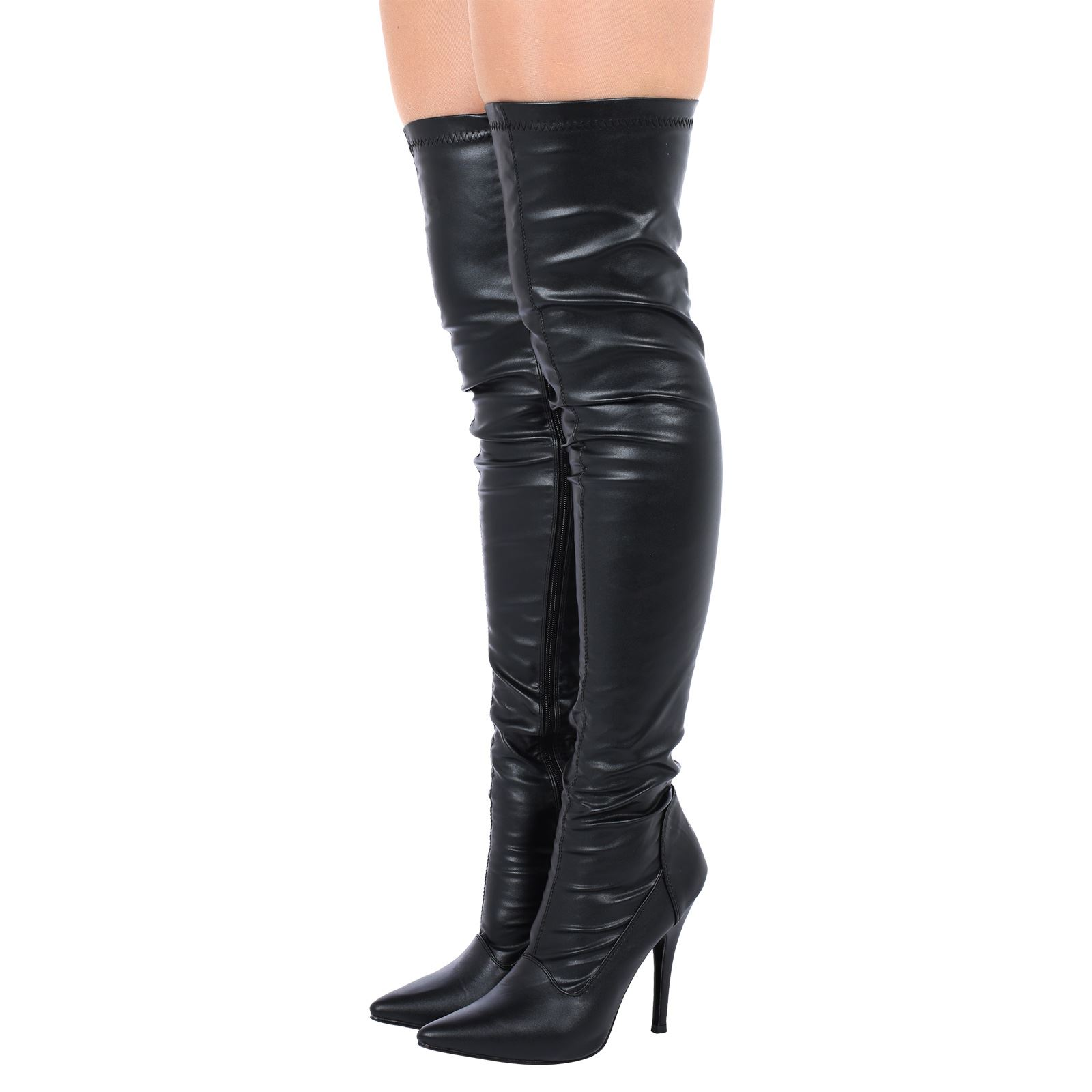 a850d14edce Womens Thigh High Boots Ladies Over The Knee Lace Up Long Low Mid Heel  Shoes See
