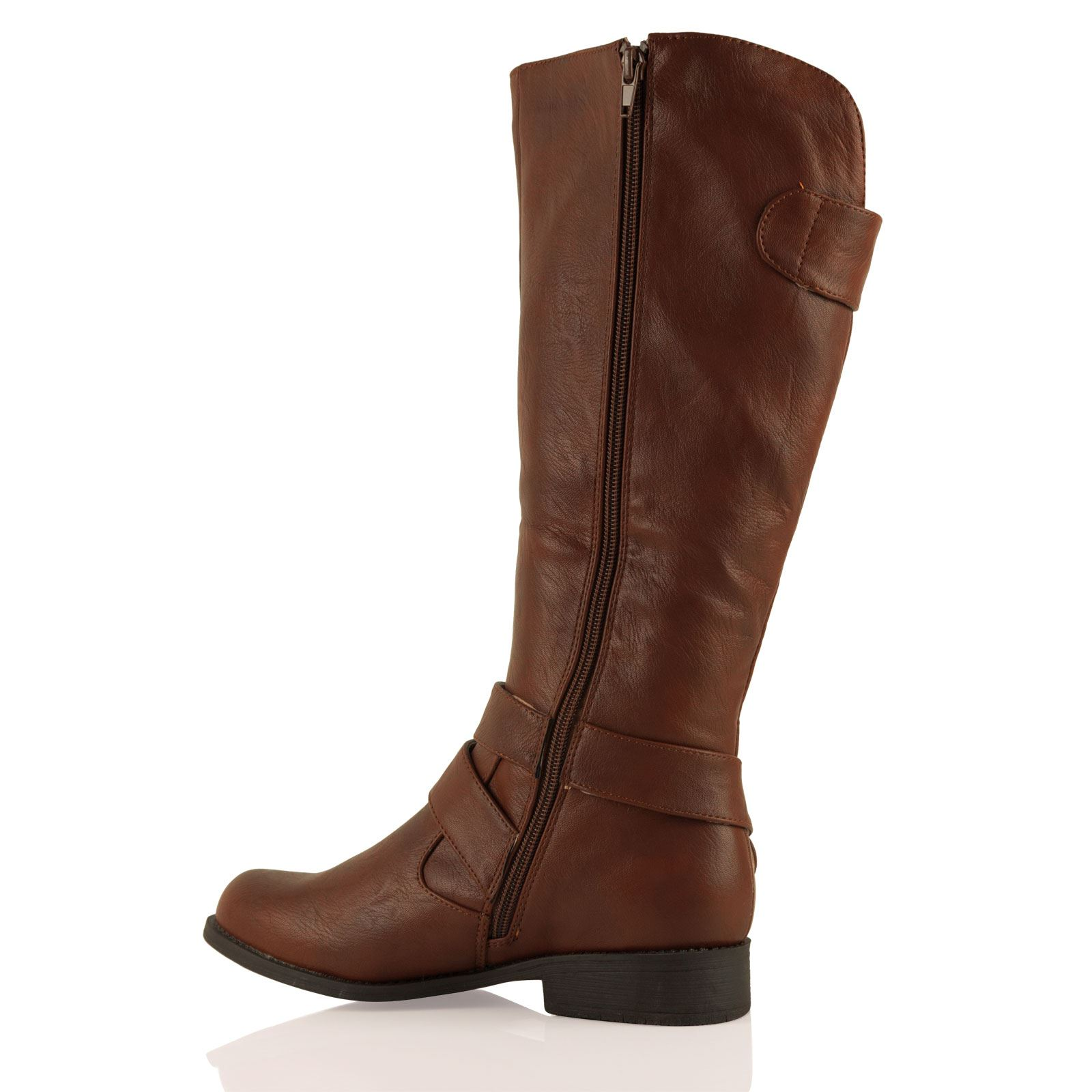 Luxury Womens Mid Calf Leather Look Fashion Riding Boots Flats Buckle Biker Ladies Size