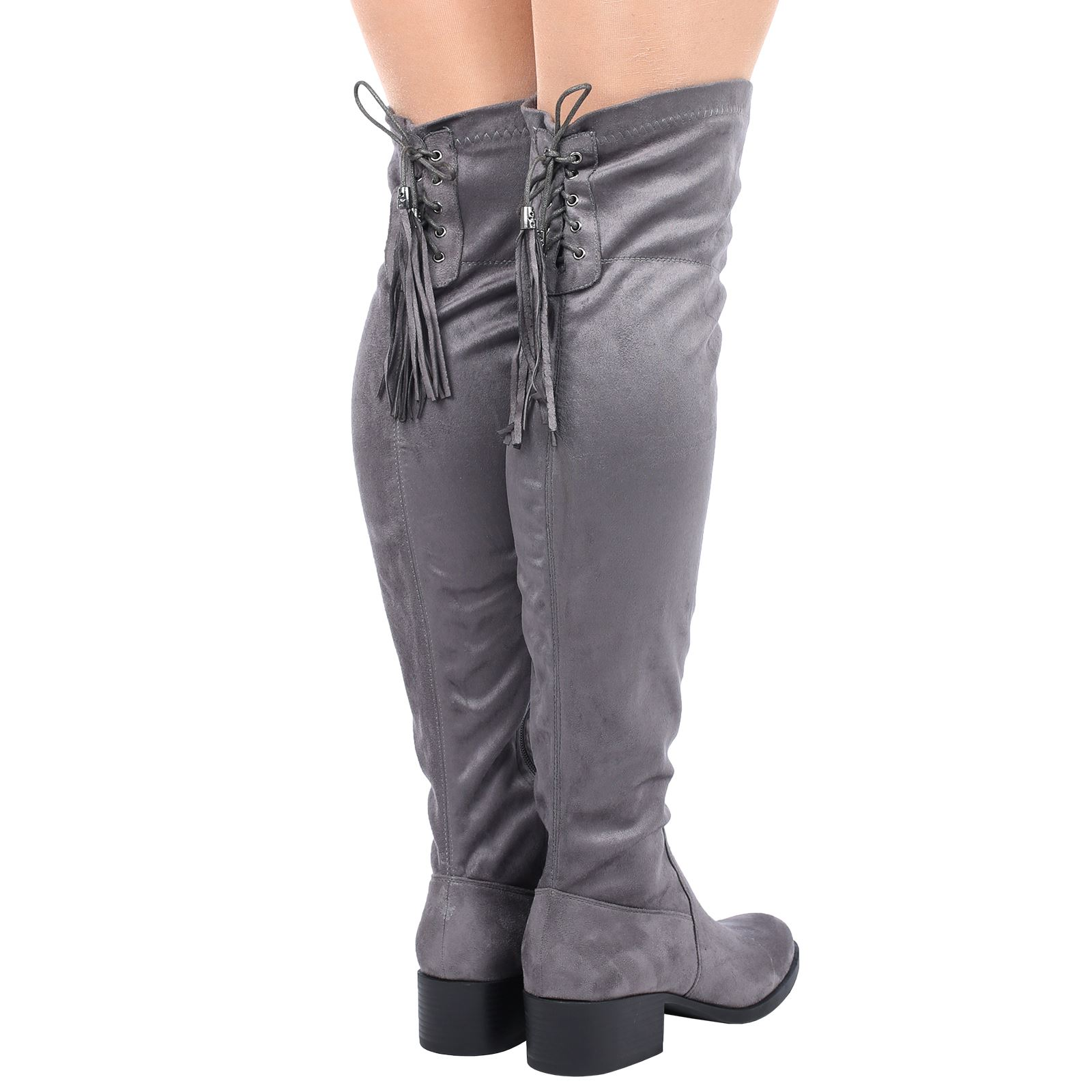 womens thigh high the knee lace up back tassel