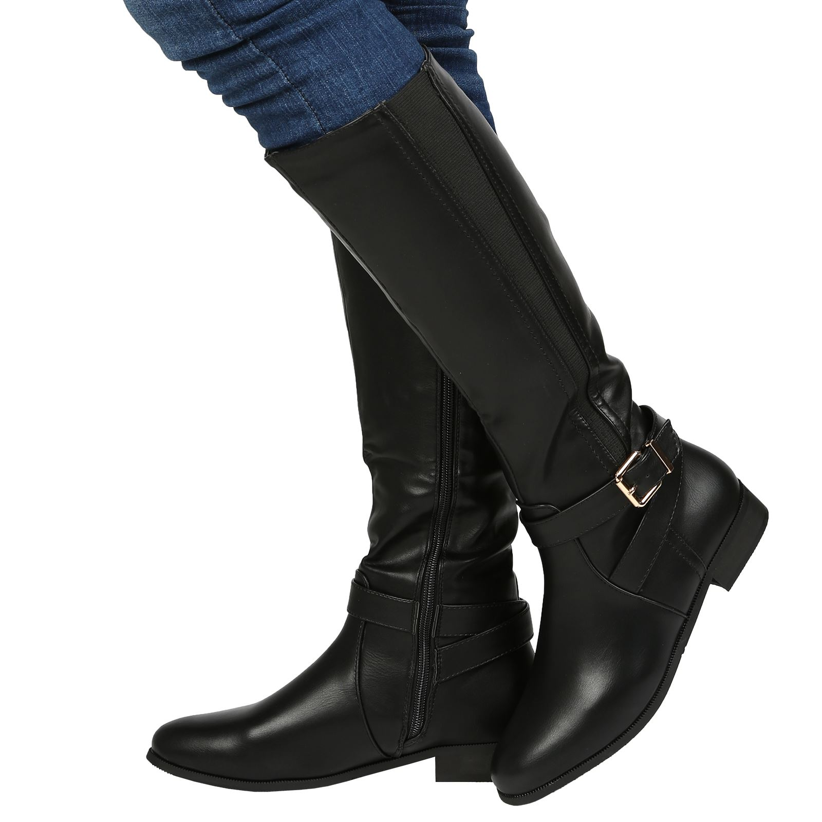 Elegant Details About Low Heel Faux Leather Mid Calf Boots Black Womens Shoes