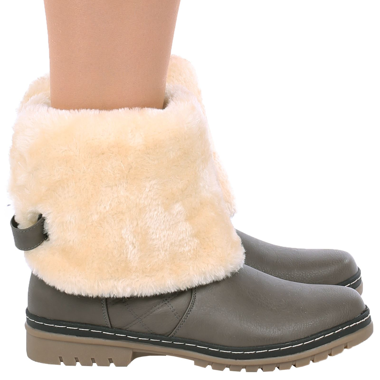 8f442d8b2dcb3 D6Z Womens Ladies Quilted Faux Fur Lined Thick Sole Mid Calf Boots ...