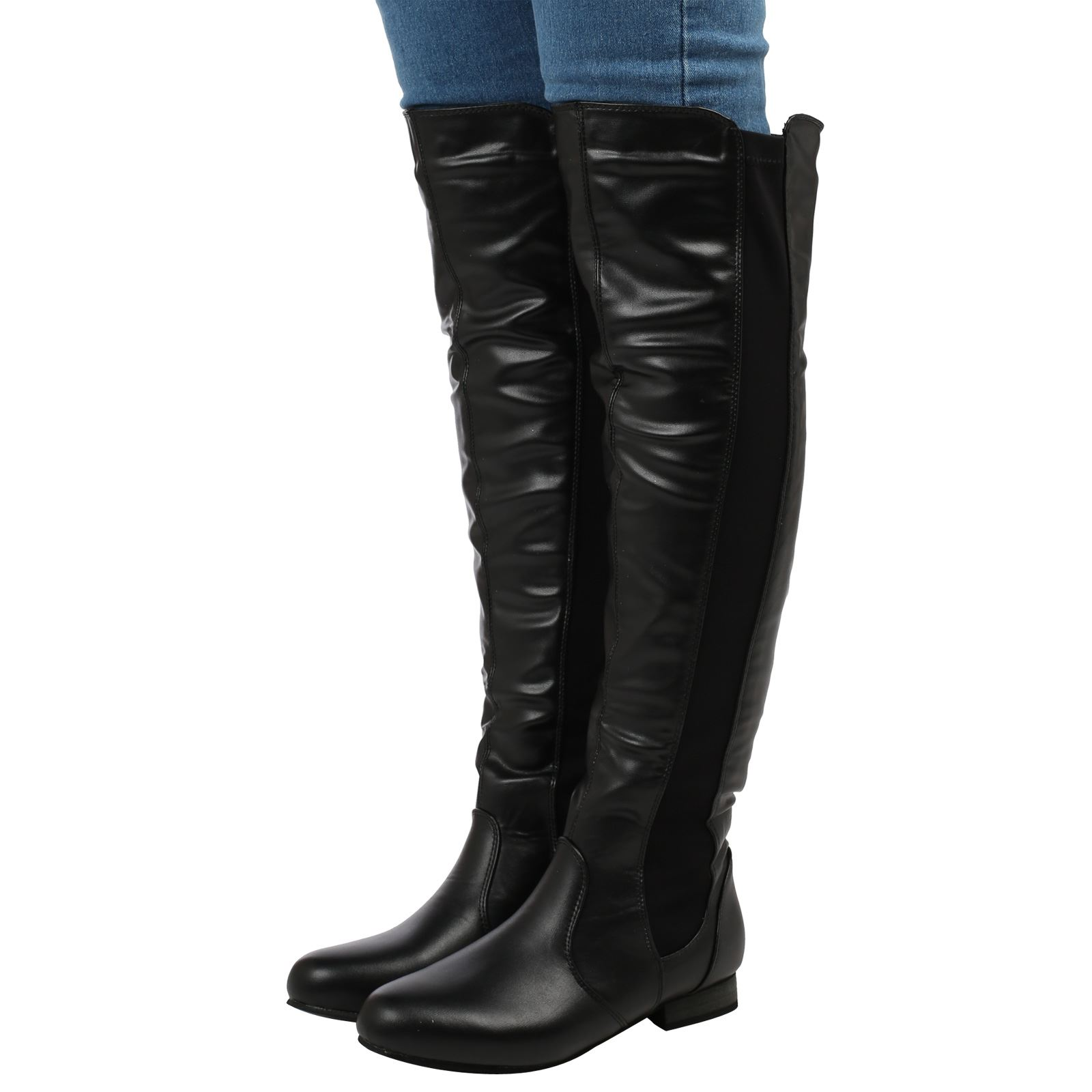 womens boots the knee high pull on flat