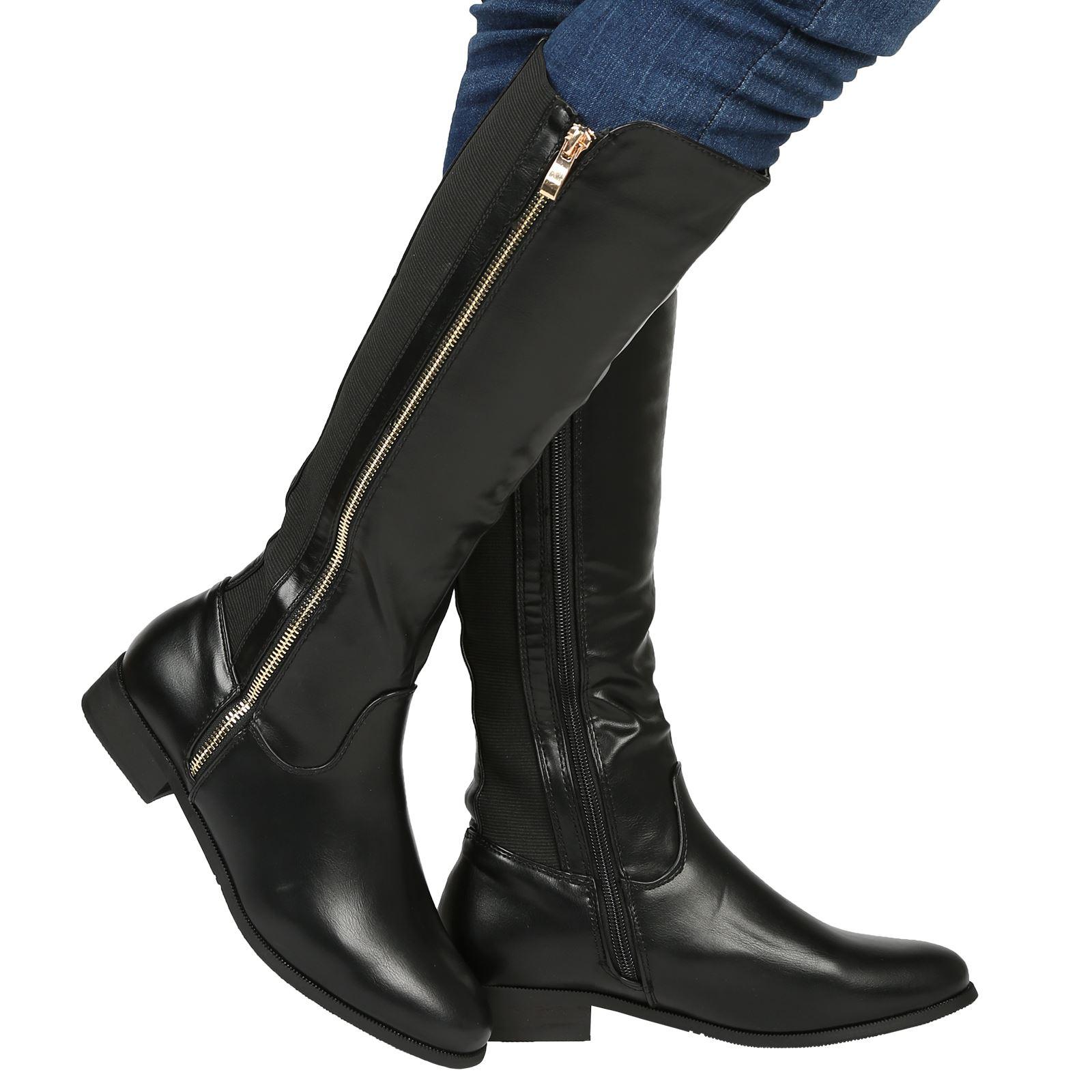 womens flats low heels zip up knee high wide