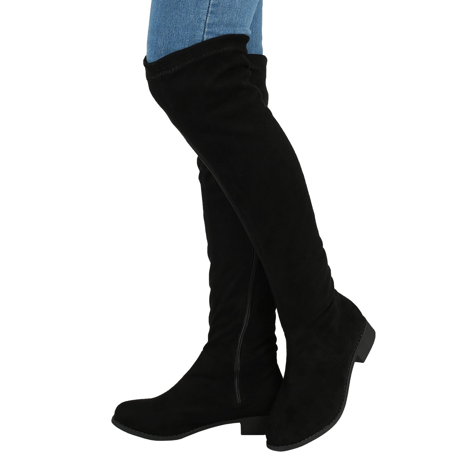 womens boots flat low heel knee high thigh stretch