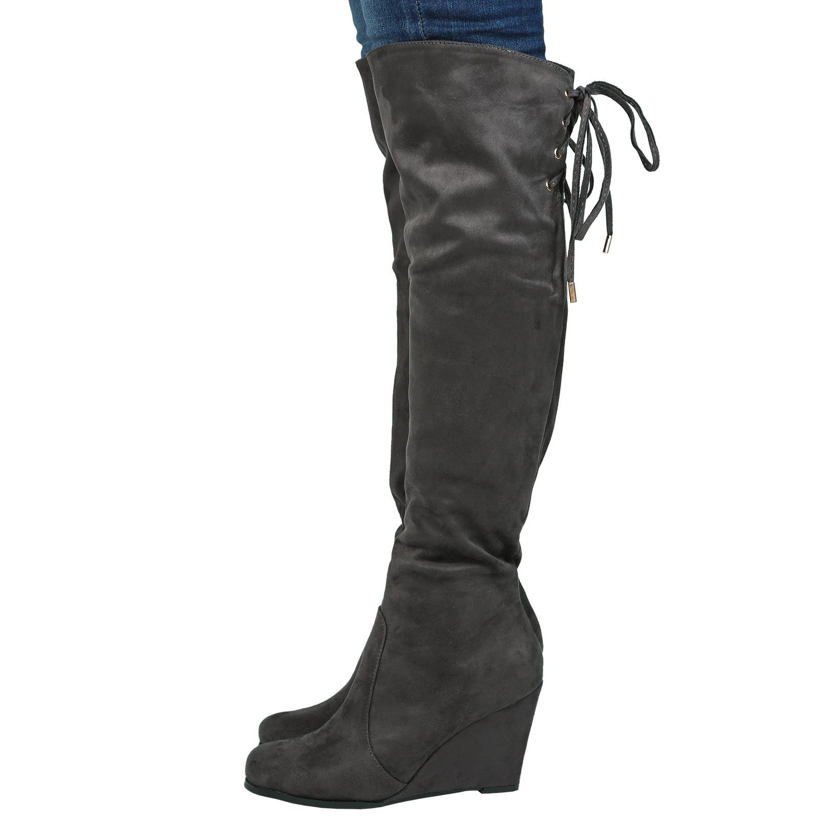 womens boots knee high heels calf fold lace