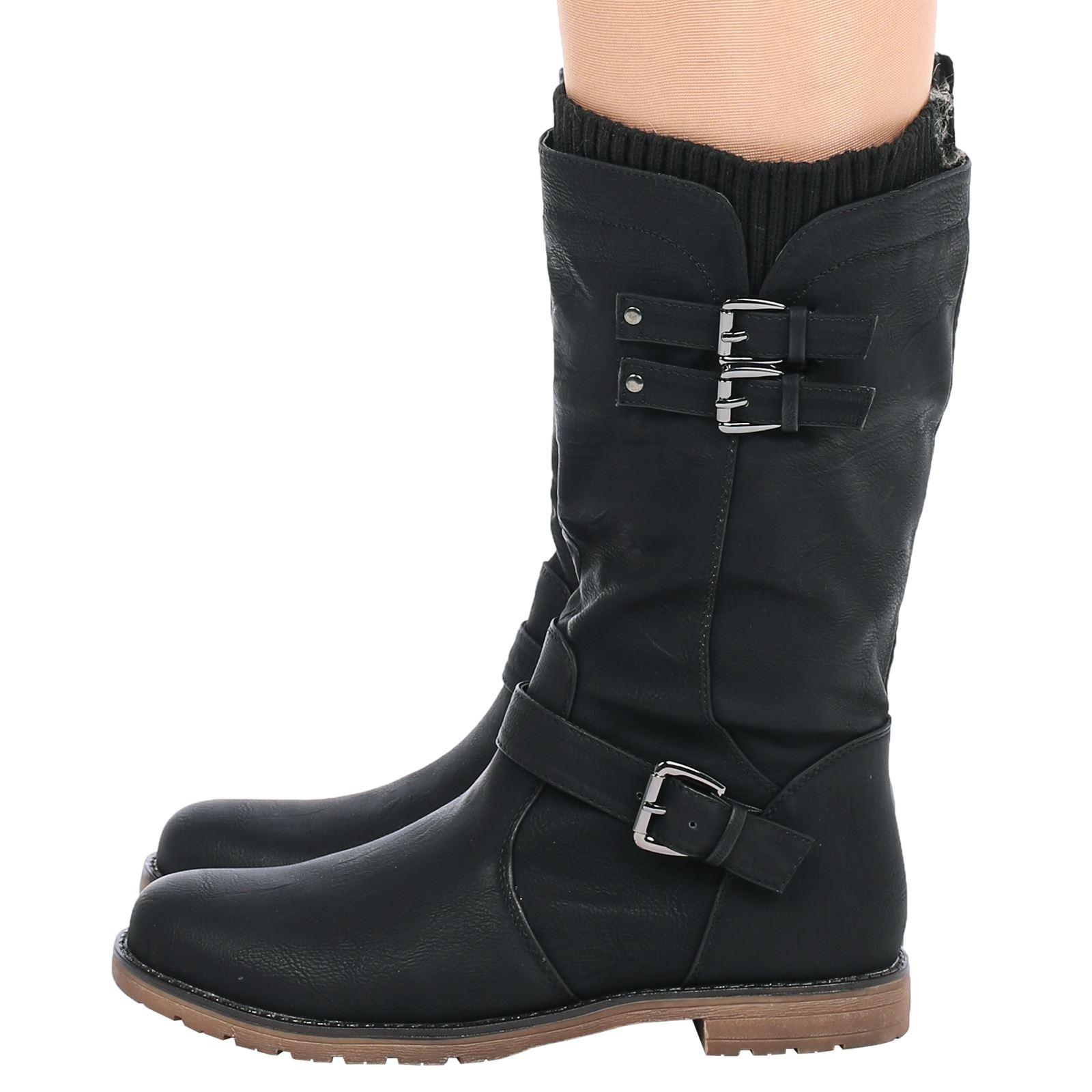 sock boots mid heel womens shoes mid calf low heel winter sock biker boots trendy size ebay