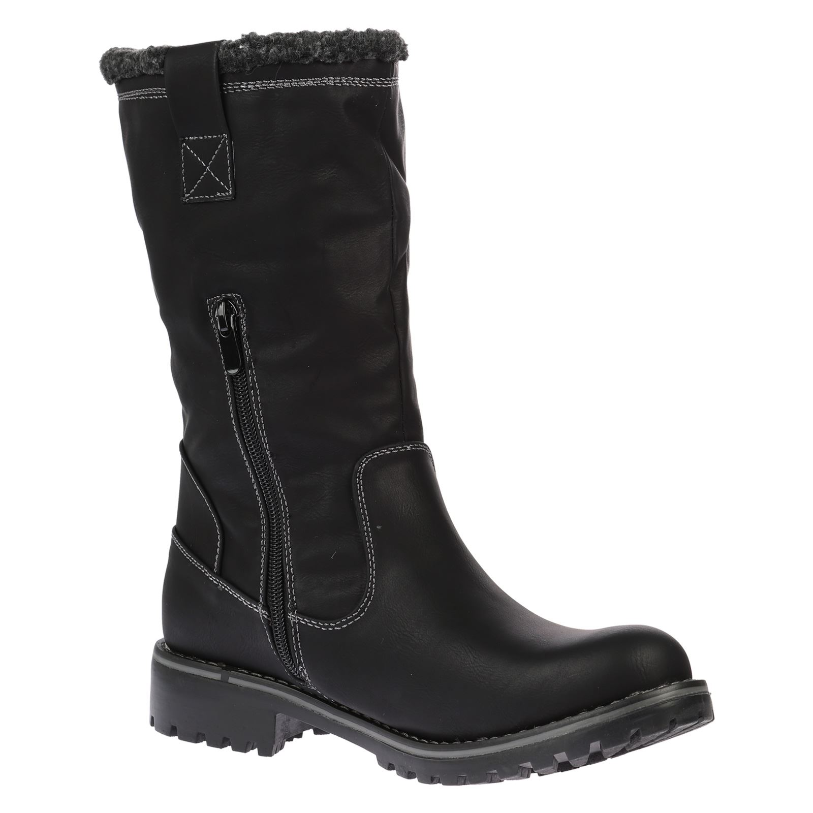 WOMENS BOOTS LADIES MID CALF ANKLE WARM WINTER ICE GRIP