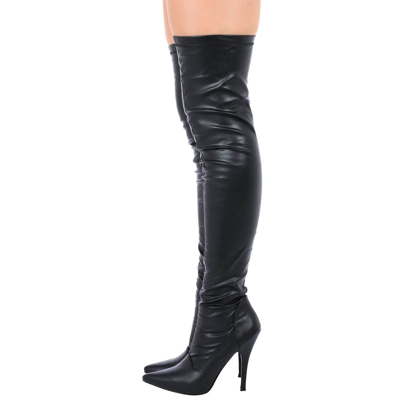 womens ladies thigh high over the knee zip up boots high. Black Bedroom Furniture Sets. Home Design Ideas